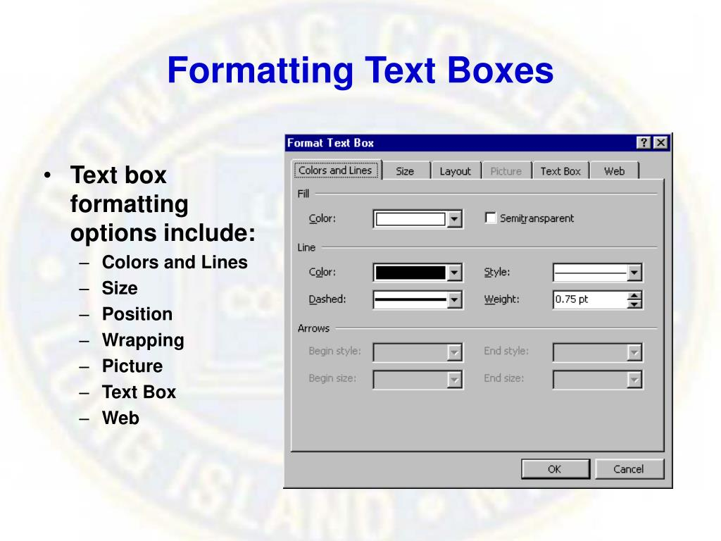 Formatting Text Boxes