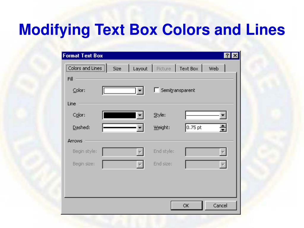 Modifying Text Box Colors and Lines