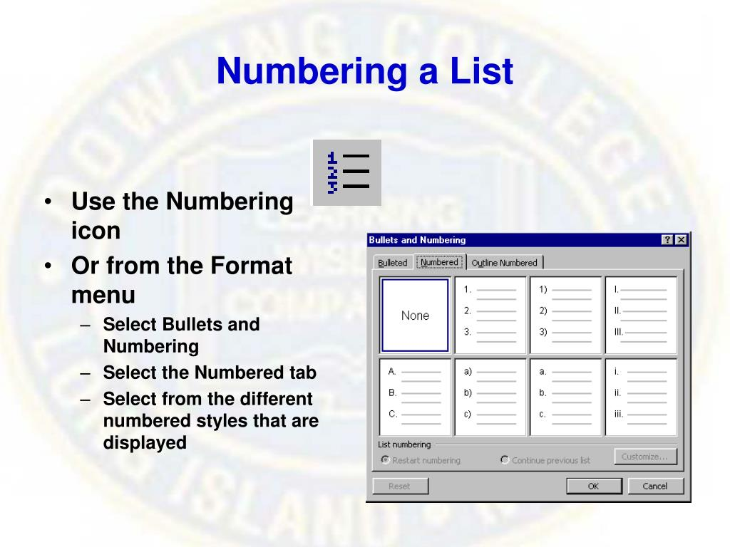 Numbering a List