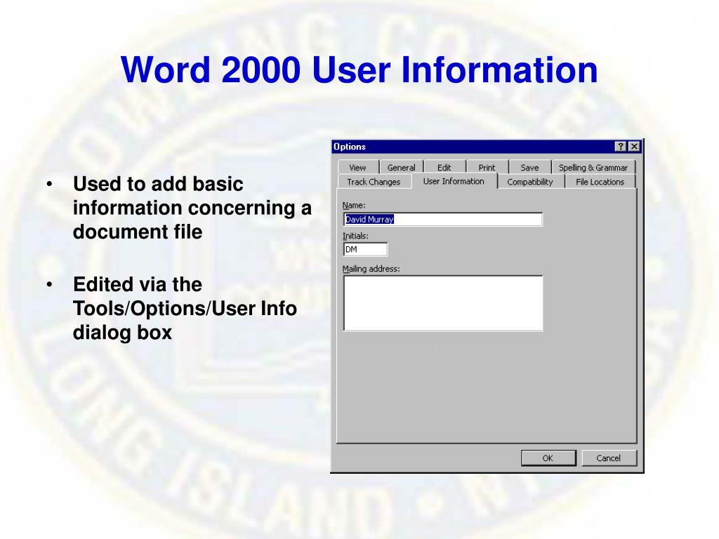 Word 2000 User Information