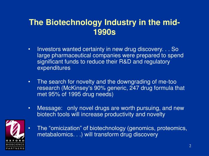 The biotechnology industry in the mid 1990s