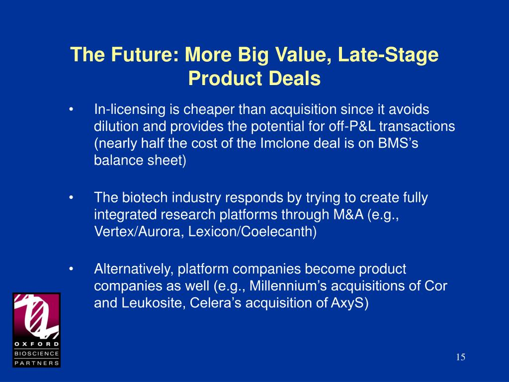 The Future: More Big Value, Late-Stage Product Deals