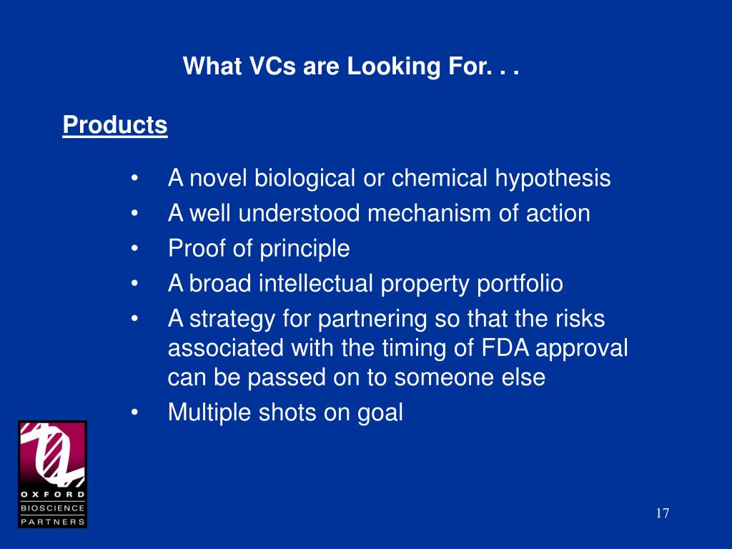 What VCs are Looking For. . .