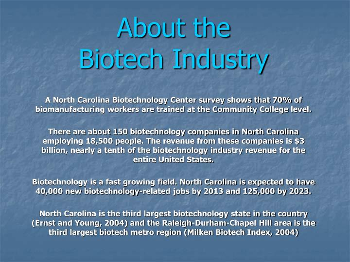 About the biotech industry