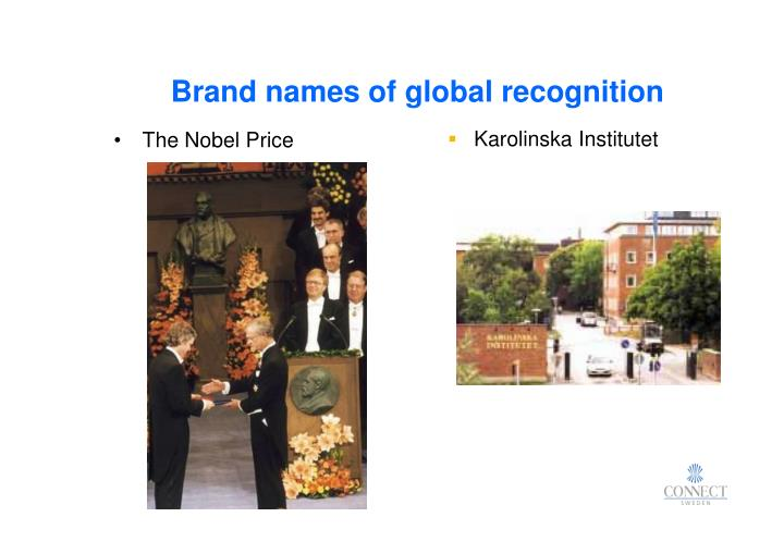 Brand names of global recognition