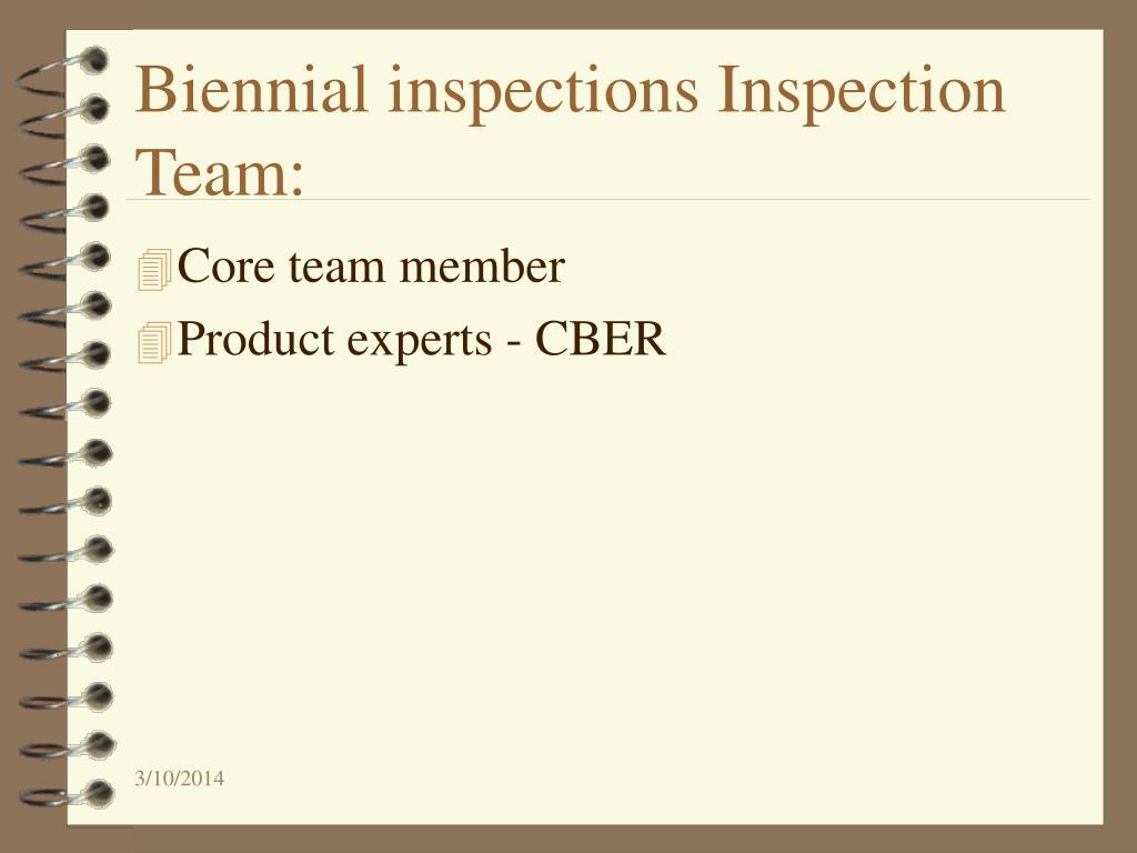 Biennial inspections Inspection Team: