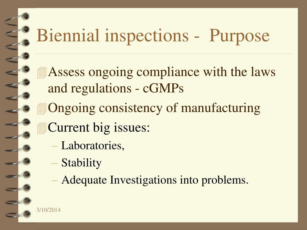 Biennial inspections -  Purpose