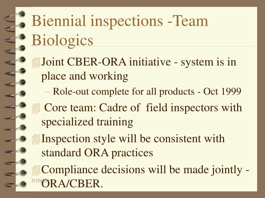 Biennial inspections -Team Biologics