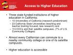 access to higher education