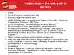 partnerships the only path to success