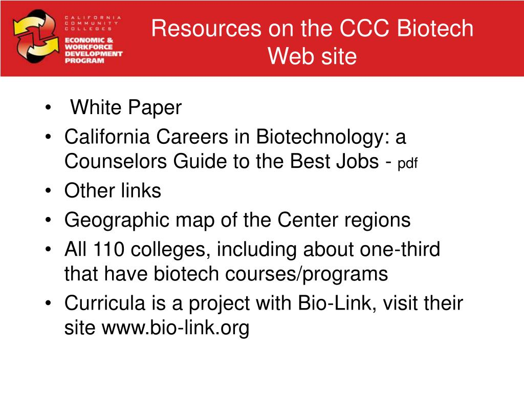 Resources on the CCC Biotech Web site