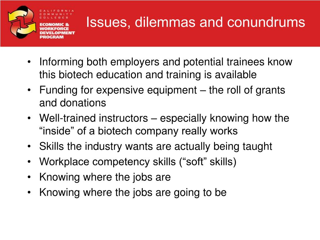 Informing both employers and potential trainees know this biotech education and training is available