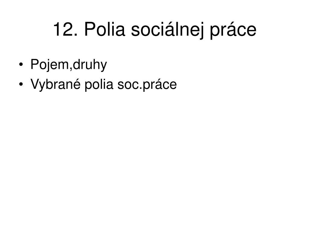 12. Polia sociálnej práce