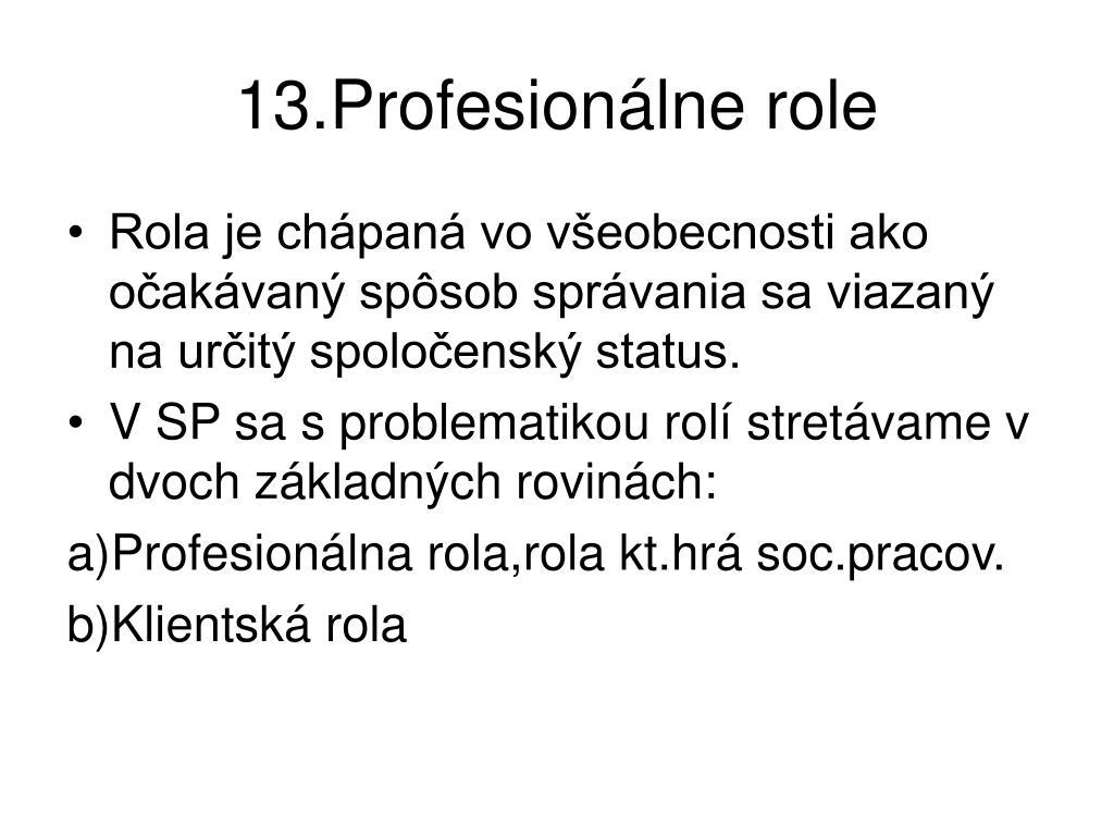13.Profesionálne role