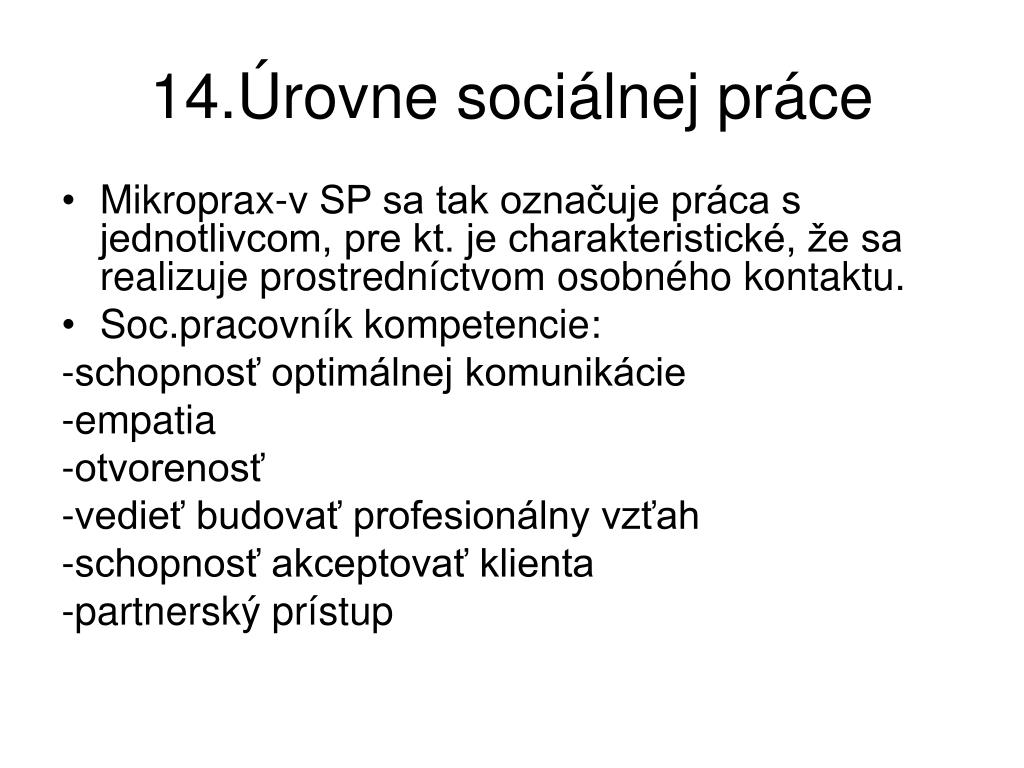 14.Úrovne sociálnej práce