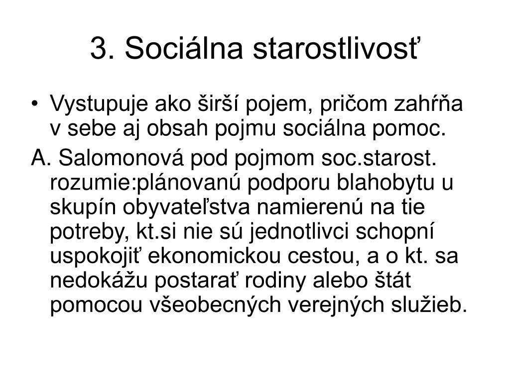 3. Sociálna starostlivosť