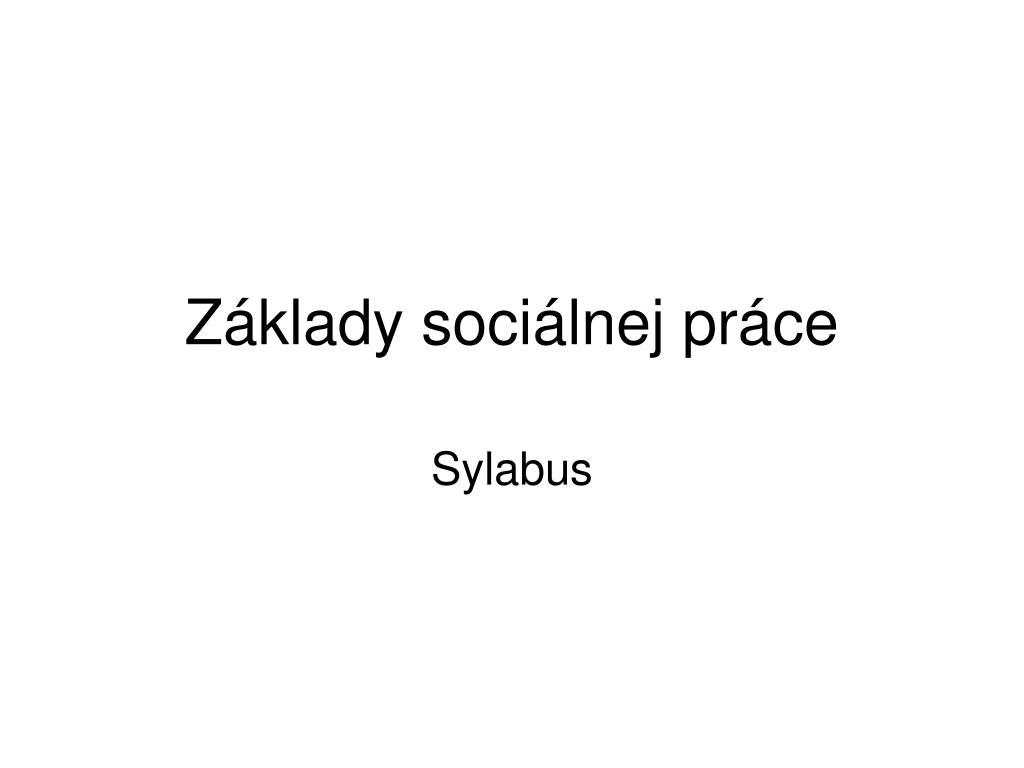 Základy sociálnej práce