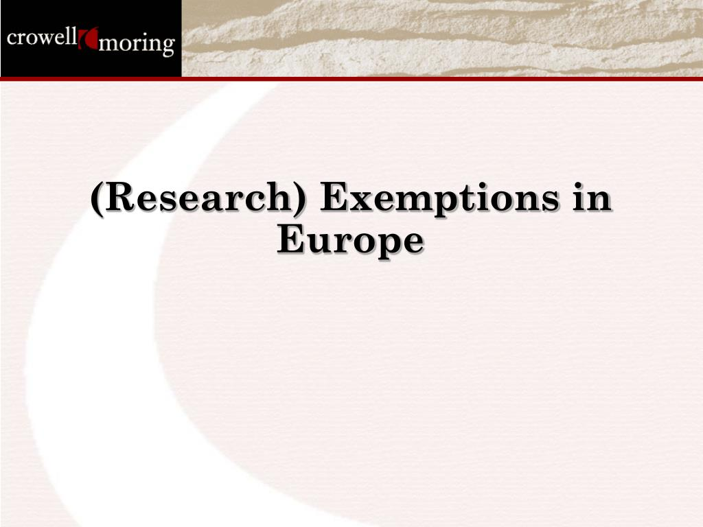 (Research) Exemptions in Europe