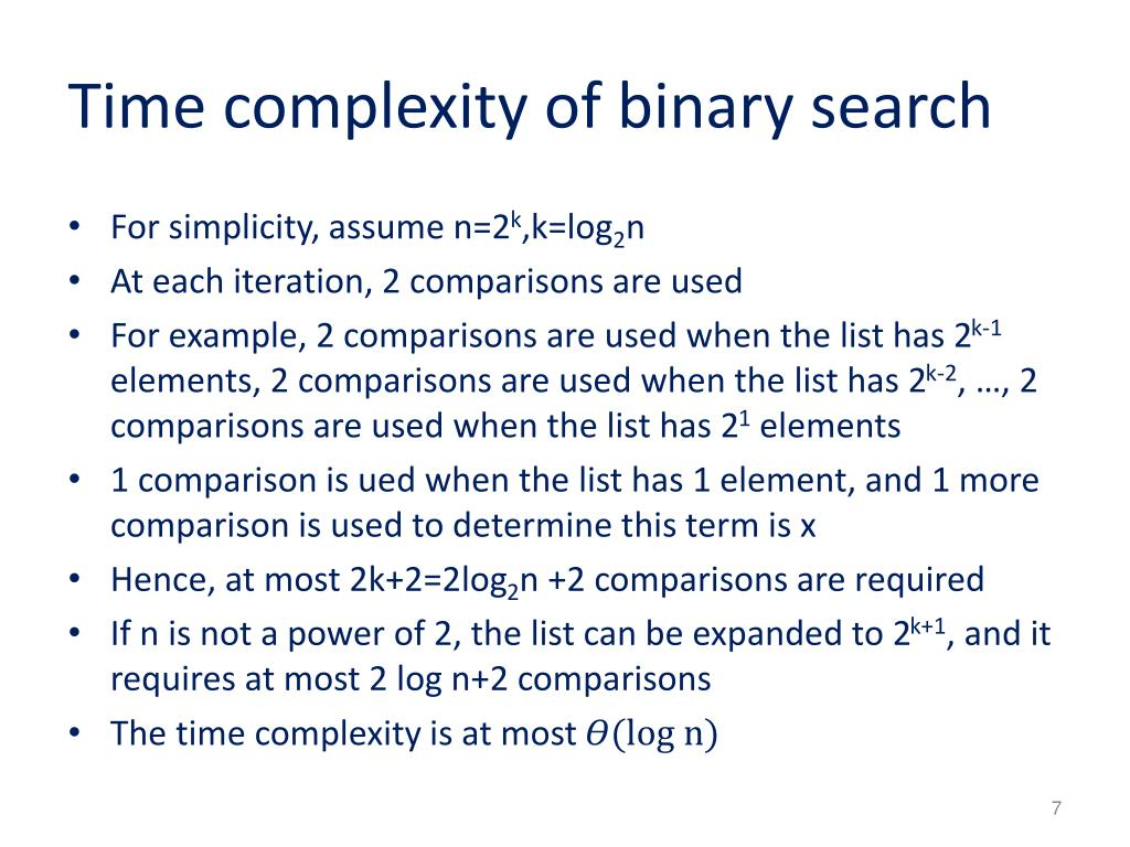 Time complexity of binary search