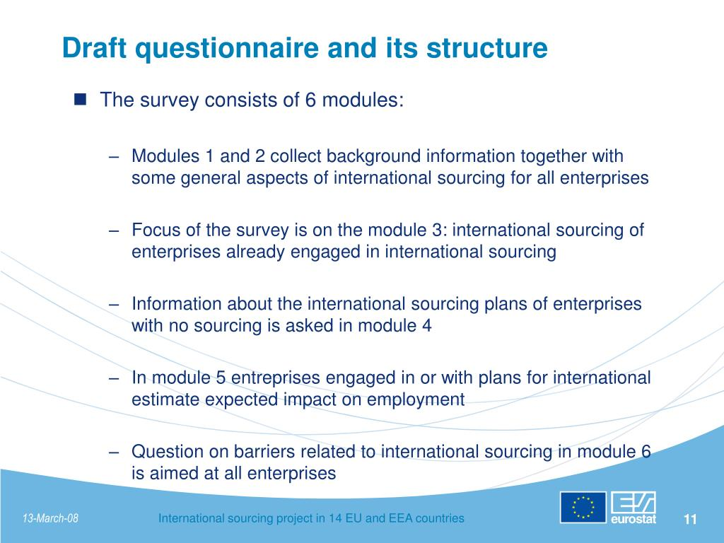 Draft questionnaire and its structure