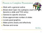 process to complete presentation