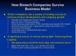 how biotech companies survive business model