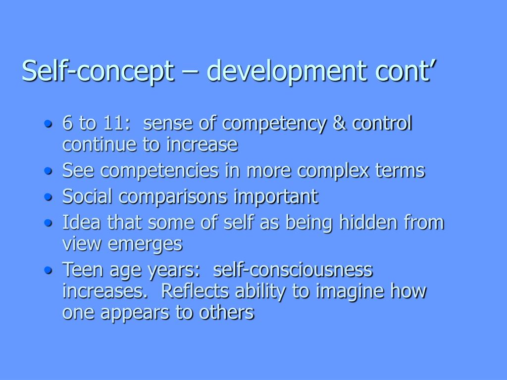 Self-concept – development cont'