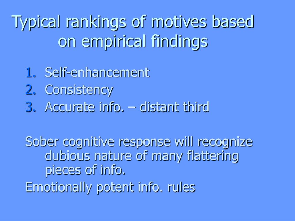 Typical rankings of motives based on empirical findings