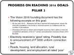 progress on reaching 2016 goals pillar 2