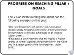 progress on reaching pillar 1 goals