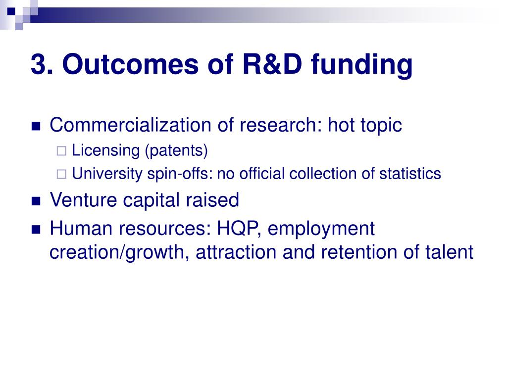 3. Outcomes of R&D funding