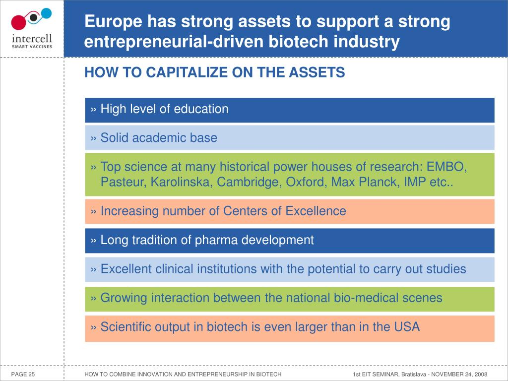 Europe has strong assets to support a strong entrepreneurial-driven biotech industry