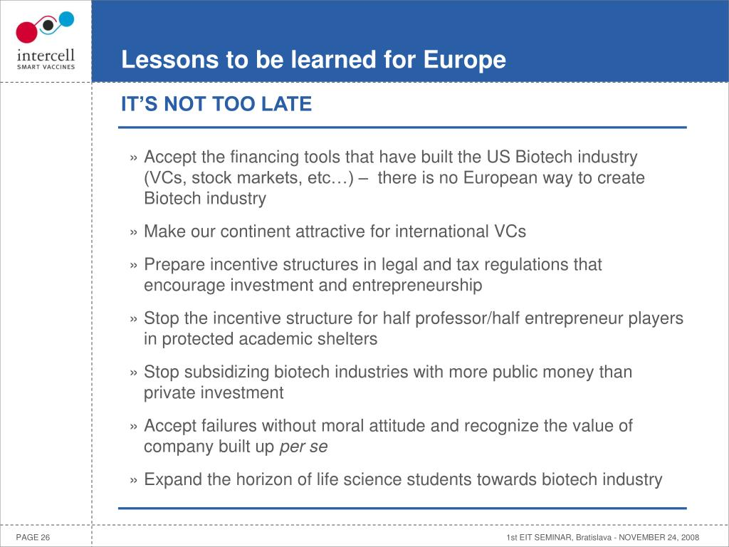 Lessons to be learned for Europe
