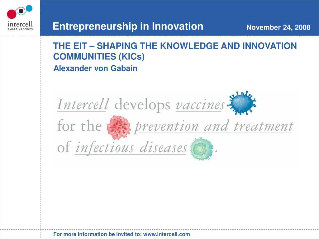 Entrepreneurship in Innovation