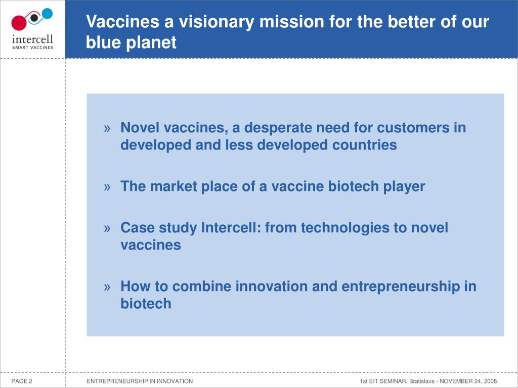 Vaccines a visionary mission for the better of our blue planet