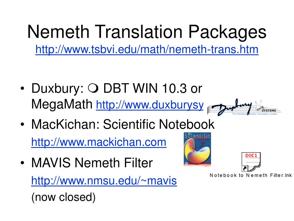 Nemeth Translation Packages