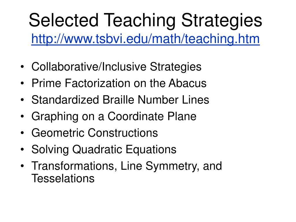 Selected Teaching Strategies