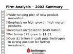firm analysis 2002 summary