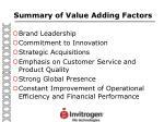 summary of value adding factors