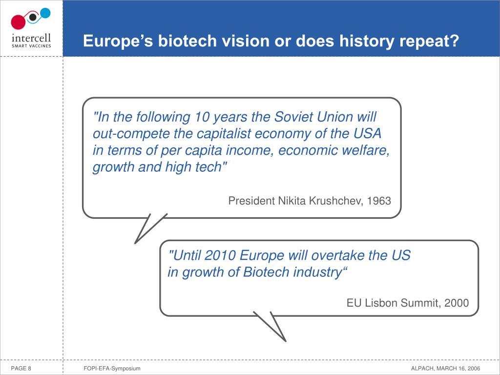 Europe's biotech vision or does history repeat?