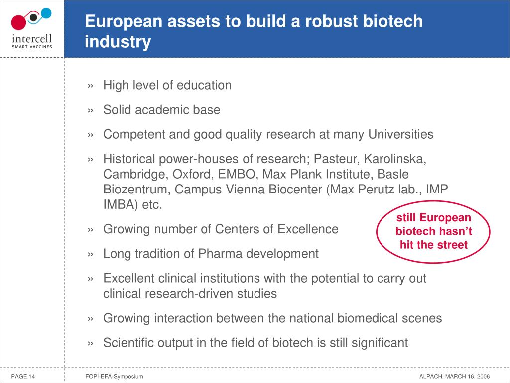 European assets to build a robust biotech industry