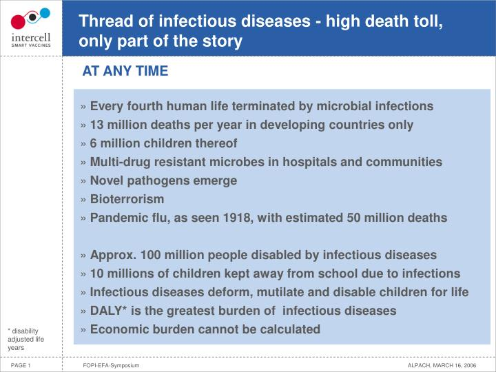 Thread of infectious diseases high death toll only part of the story