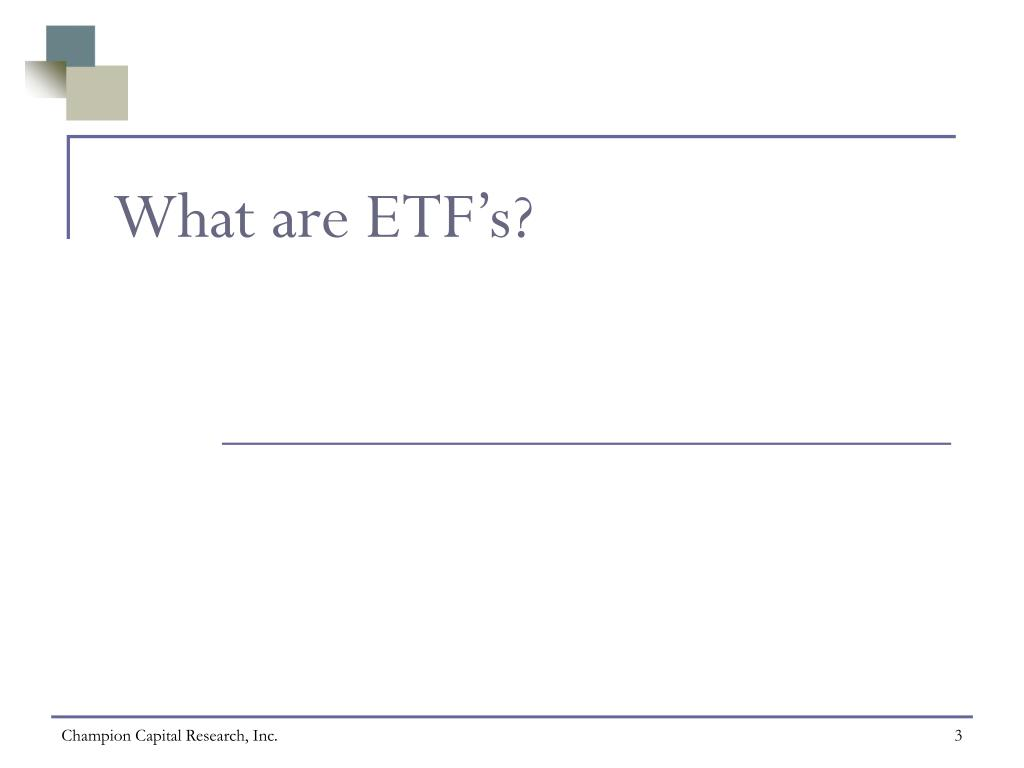What are ETF's?