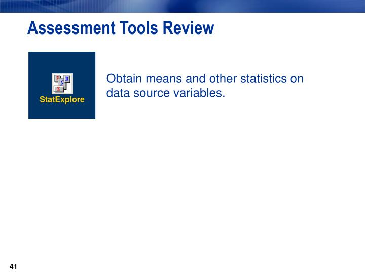 Assessment Tools Review