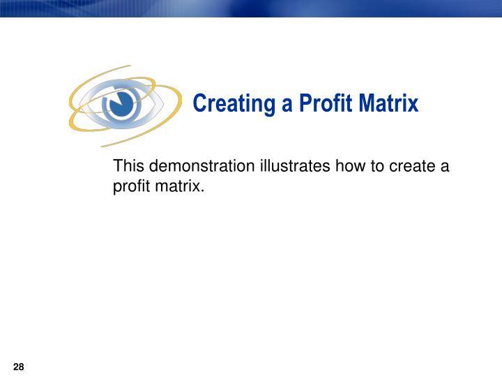 Creating a Profit Matrix