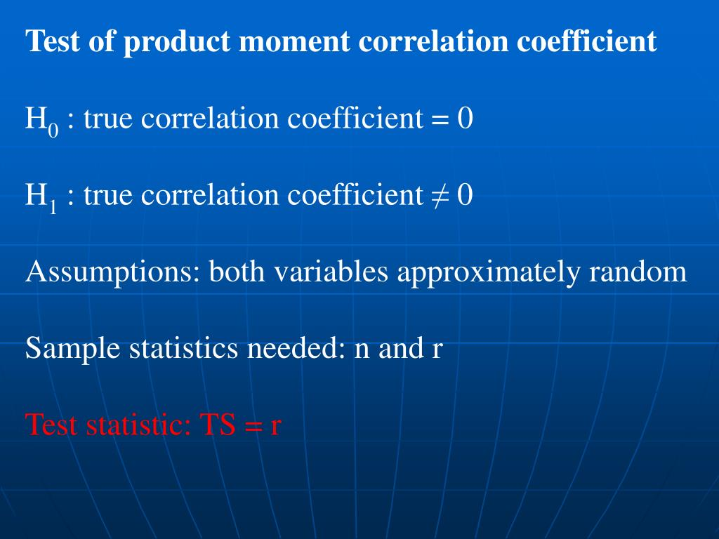 Test of product moment correlation coefficient