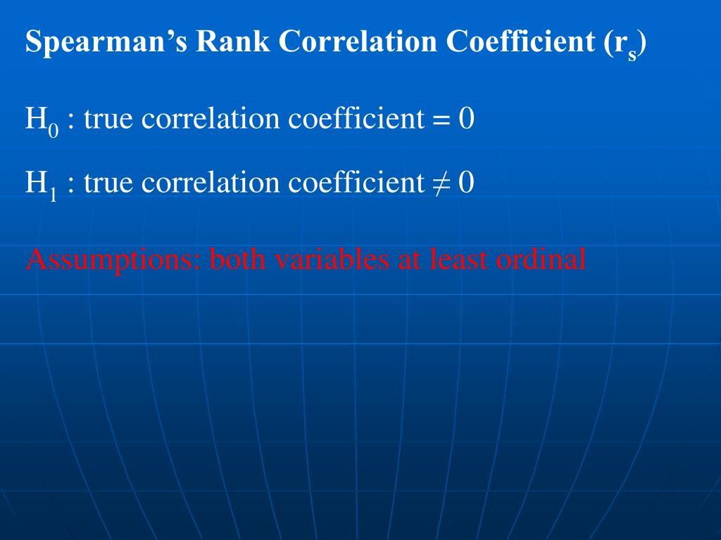 Spearman's Rank Correlation Coefficient (r