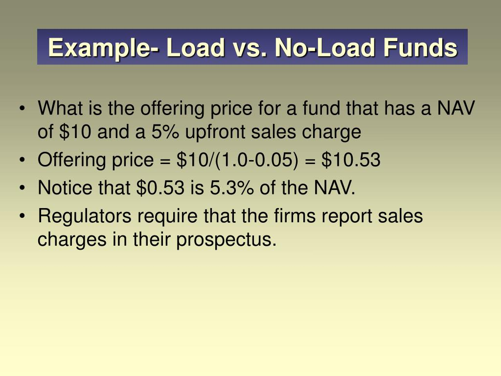 Example- Load vs. No-Load Funds