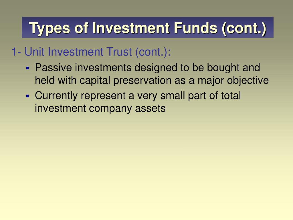 Types of Investment Funds (cont.)