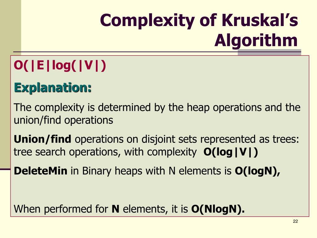 Complexity of Kruskal's Algorithm